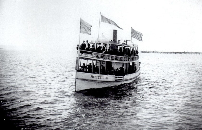 The Roseville ferry provided public transportation on San Diego Bay to and from Point Loma.