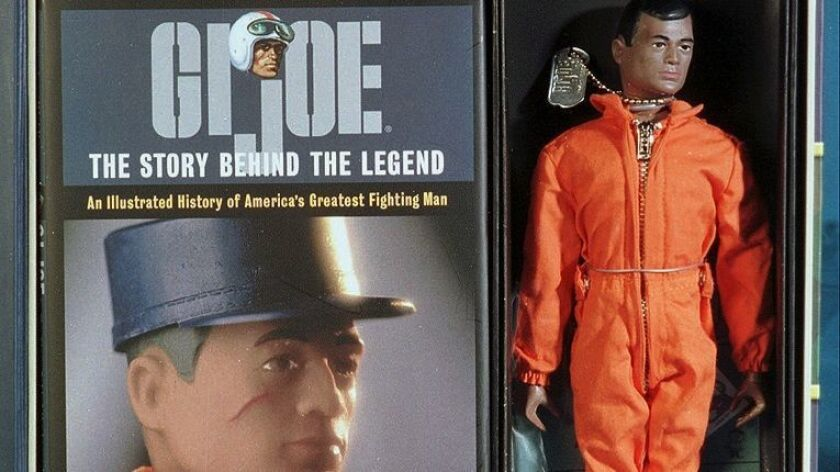 The Masterpiece Edition G.I. Joe package includes a replica of the original 1964 action figure, complete with big feet, a misplaced thumbnail, a facial scar and 21 moving parts and rivets.