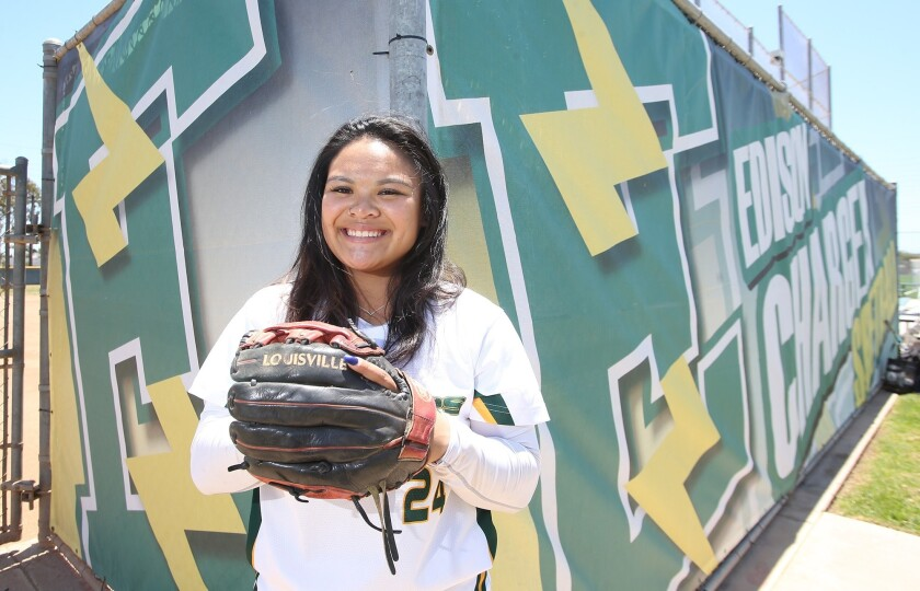 Edison softball player Jaelyn Operana, is Daily Pilot athlete of the week. She played in the Orange