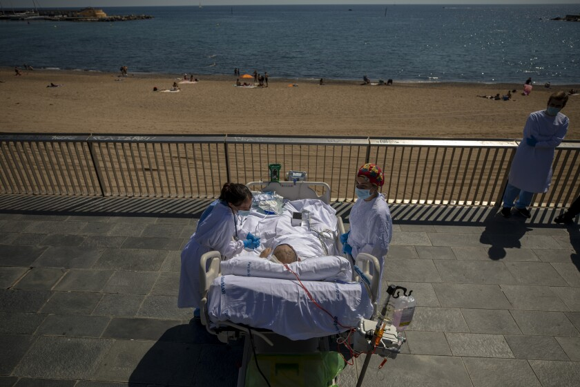 A hospital in Barcelona is studying how short trips to the beach may help COVID-19 patients
