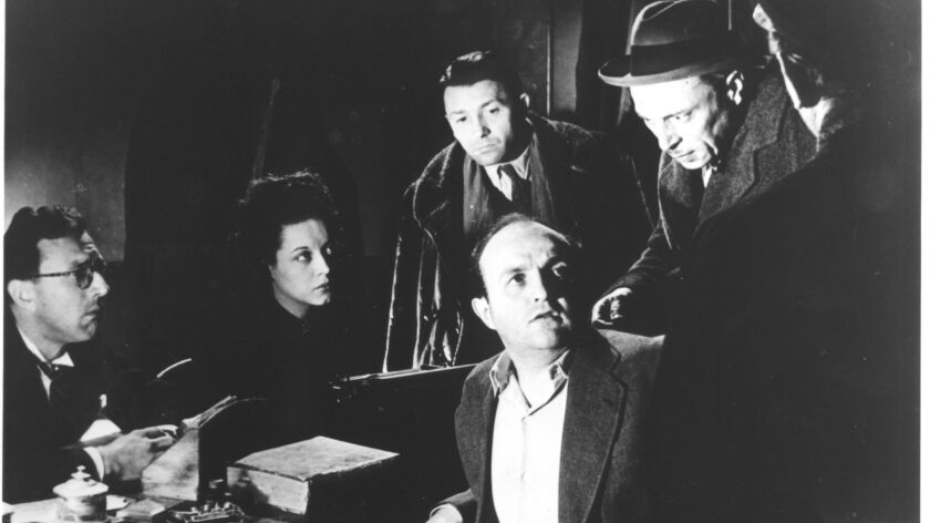 "(L-R) - Bernard Blier and Louis Jouvet in Henri-Georges Clouzot's ""QUAI DES ORFéVRES"" (1947). Credit"