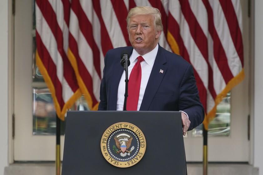 President Trump speaks in the White House Rose Garden on Tuesday.