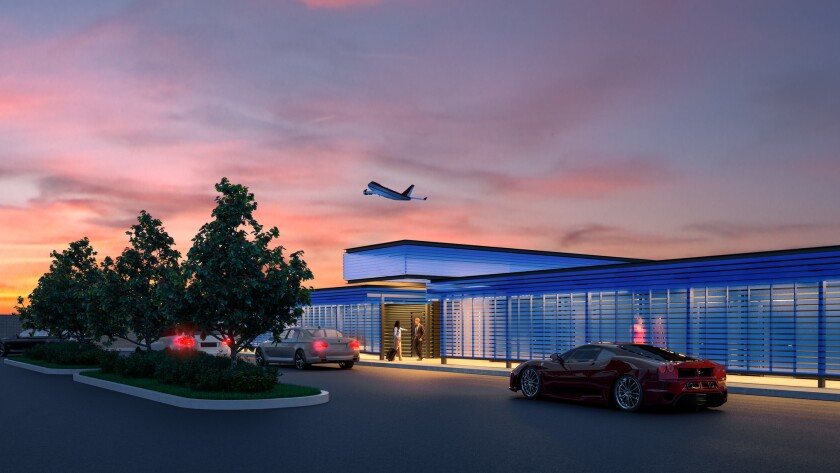 An artist's rendering of the Private Suite terminal.