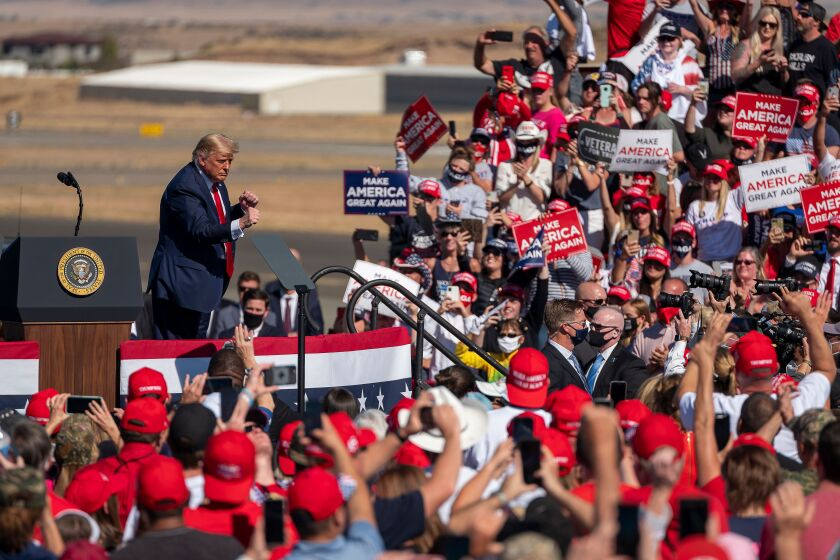 President Trump at a campaign rally Monday at Prescott Regional Airport in Prescott, Ariz.