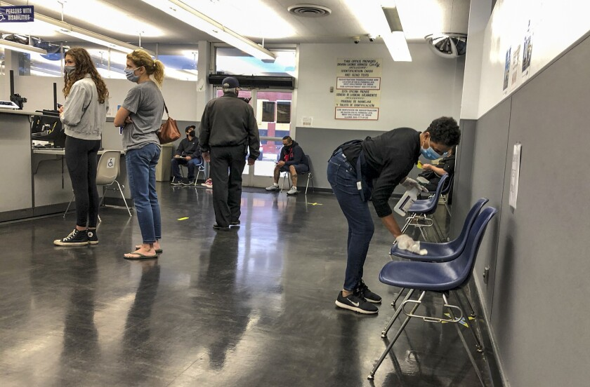 People inside the Hollywood DMV field office.