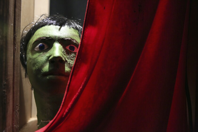 """A creepy, Halloween-esque figure is part of Sabrina Tarasoff's """"Made in L.A."""" installation at the Huntington."""