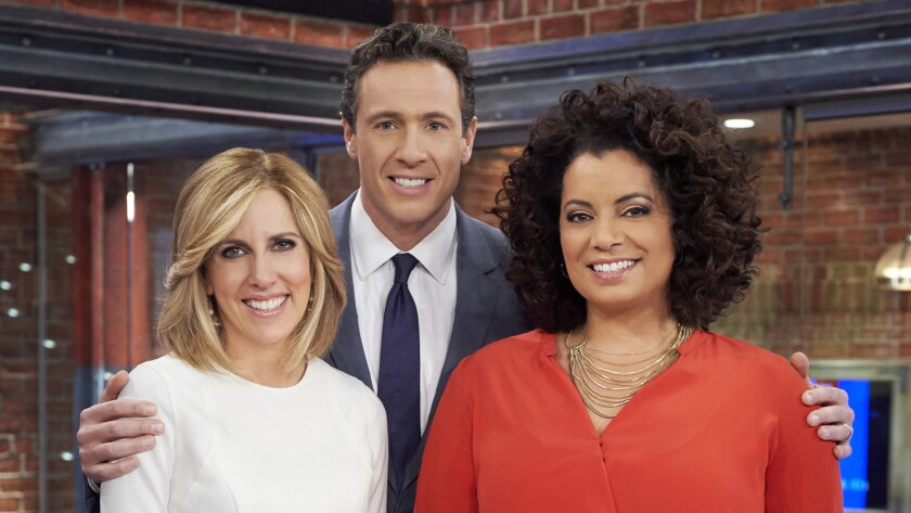 """Michaela Pereira, right, said goodbye Friday to her CNN """"New Day"""" co-anchors Alisyn Camerota and Chris Cuomo."""
