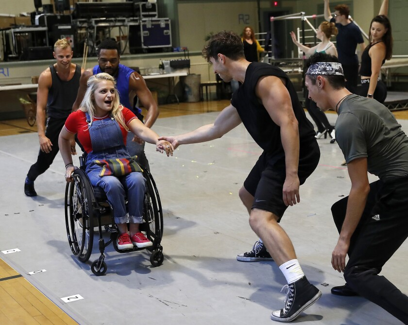 HOLLYWOOD, CA-JULY 20, 2018: Ali Stroker as Star to Be, left, is photographed with the ensemble dur