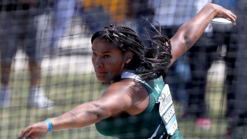 Felicia Crenshaw of Costa Mesa High participates in the Girls' Discus Invitational at the Mt. SAC Re
