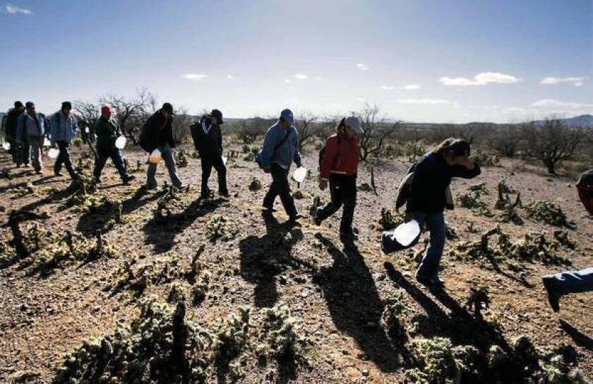 Immigrants carrying jugs of water follow a footpath just north of the Mexico-Arizona border in 2007. Police say a state law directing them to check the immigration status of people they stop may be an enforcement nightmare.