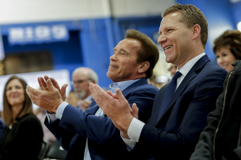 Assemblyman Chad Mayes (R-Yucca Valley), right, with former Gov. Schwarzenegger, at an event to debut their group New Way California.