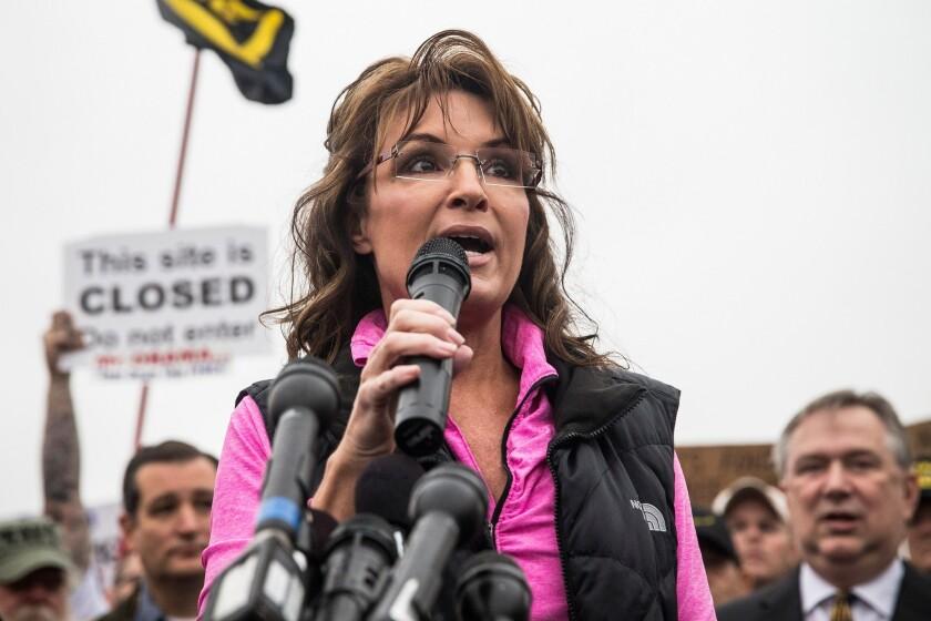 Former Alaskan Gov. Sarah Palin speaks at a rally Sunday in Washington, D.C.