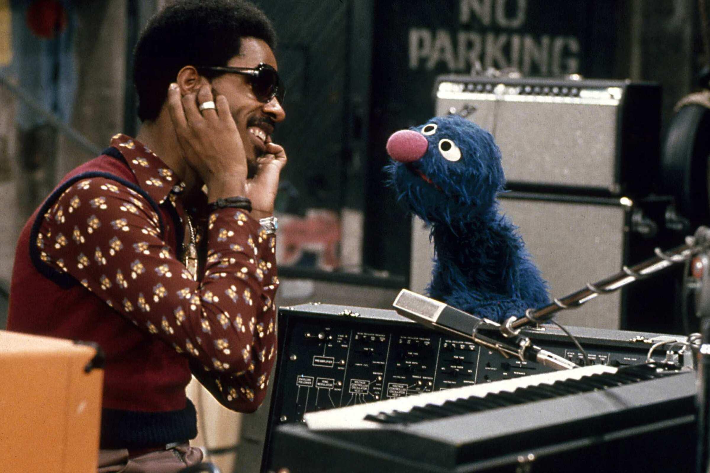 """Stevie Wonder and Grover on """"Sesame Street."""""""