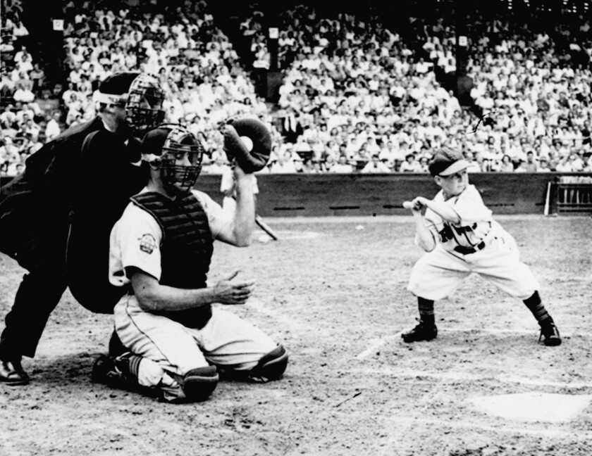Eddie Gaedel, a 3-foot-7 stuntman, pinch-hits for the St. Louis Browns against the Detroit Tigers on Aug. 19, 1951.