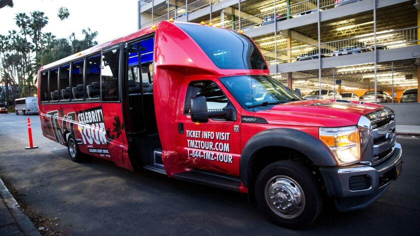 LOS ANGELES, CA - FEBRUARY 28: The TMZ Celebrity Tour bus, on February 28, 2018 in Los Angeles, Cali