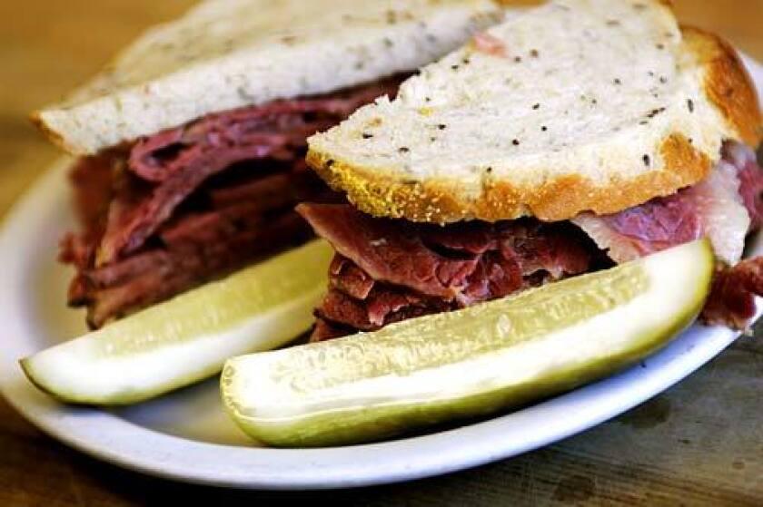 Langer's handcut pastrami and cornbeef sandwich.