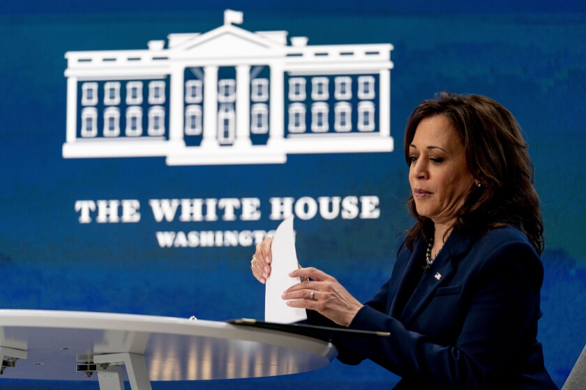 Vice President Kamala Harris prepares to leave following a virtual meeting with community leaders to discuss COVID-19 public education efforts in the South Court Auditorium in the Eisenhower Executive Office Building on the White House Campus, Thursday, April 1, 2021, in Washington. (AP Photo/Andrew Harnik)