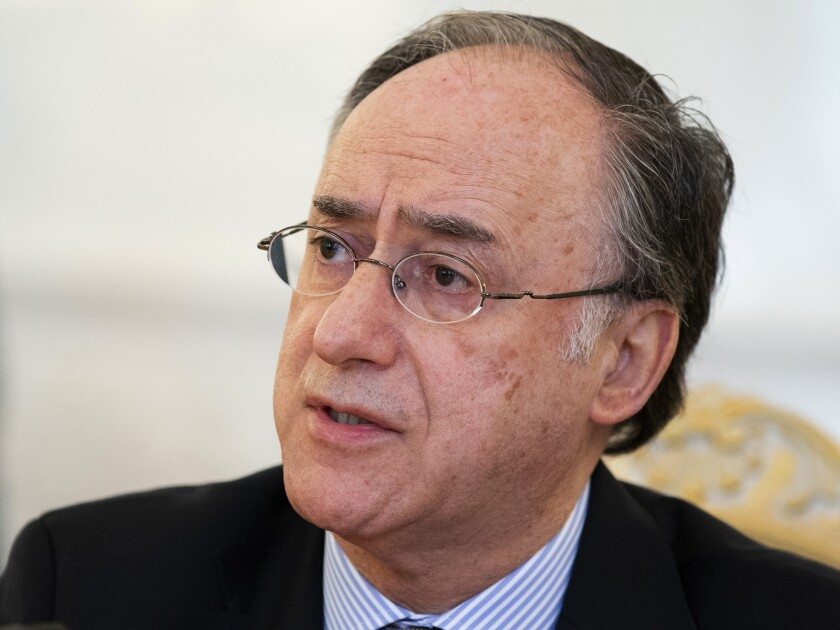 FILE - In this April 2, 2019, file photo, Fernando Arias, Director-General of the Organisation for the Prohibition of Chemical Weapons (OPCW) speaks during talks in Moscow, Russia. The head of the international chemical weapons watchdog told the U.N. Security Council that its experts have investigated 77 allegations against Syria, and concluded that in 17 cases chemical weapons were likely or definitely used. (AP Photo/Alexander Zemlianichenko, File)