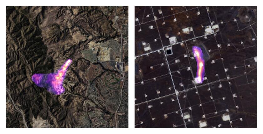 Esta combinación de imágenes satelitales provosta por la empresa de análisis de datos Kayrros muestra humareda de metano