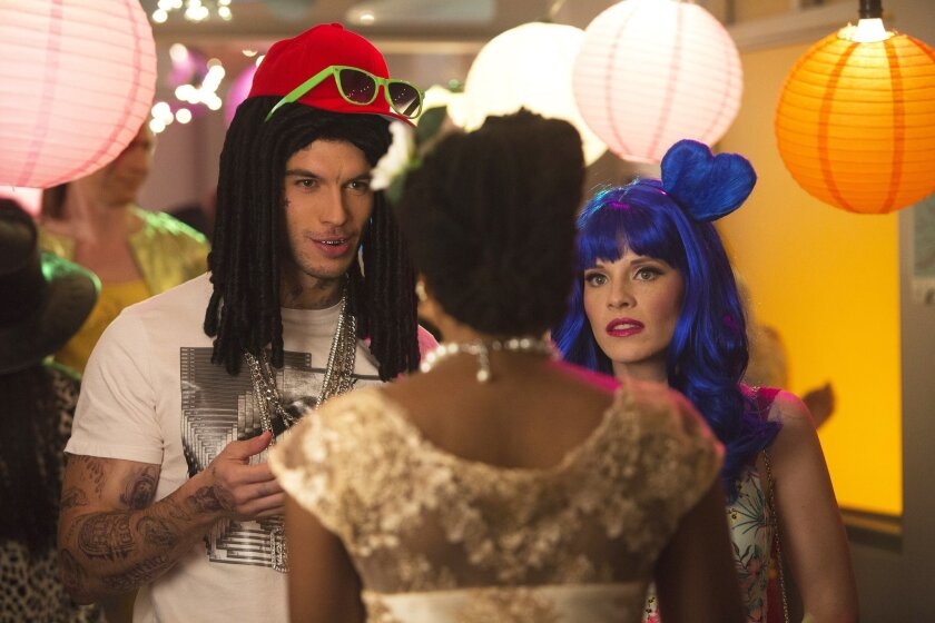 """This photo provided by Disney shows Adam Hagenbuch, left, as Mingo and Katie Leclerc as Daphne Vasquez in a scene from """"The Call"""" episode of the television series, """"Switched at Birth."""" (Adam Rose/Freeform/Disney via AP)"""