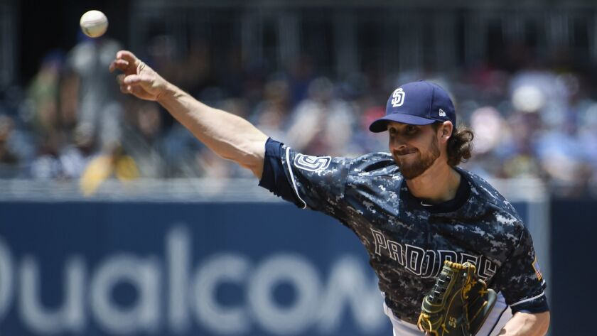 Padres pitcher Bryan Mitchell delivers during the first inning of Sunday's game against the New York Mets at Petco Park.