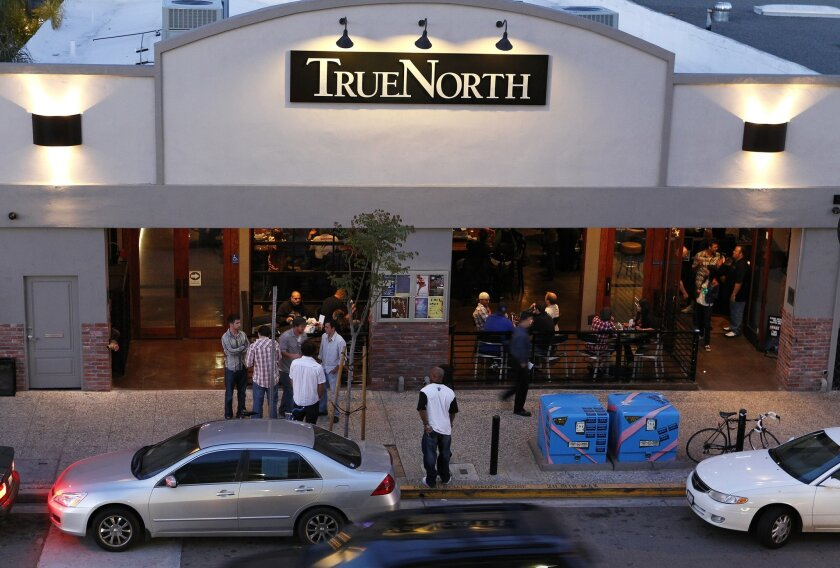 Outside True North Tavern, known for its tater tots and TVs.