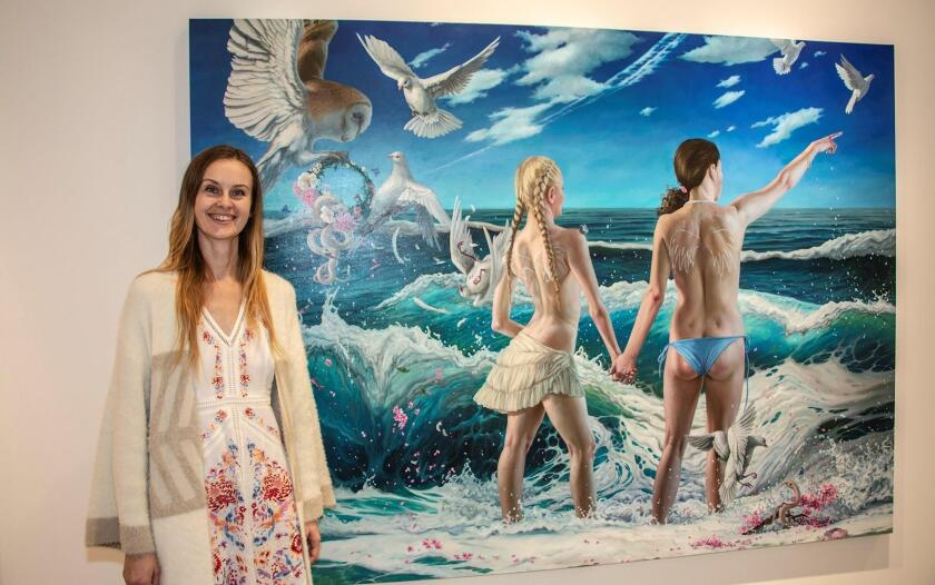 Jana Brike with one of her 'Sea Change' paintings