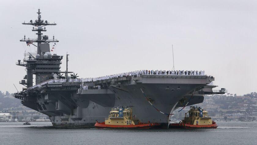 CORONADO, CA: June 23, 2017 | The aircraft carrier USS Carl Vinson arrives at Naval Air Station Nor