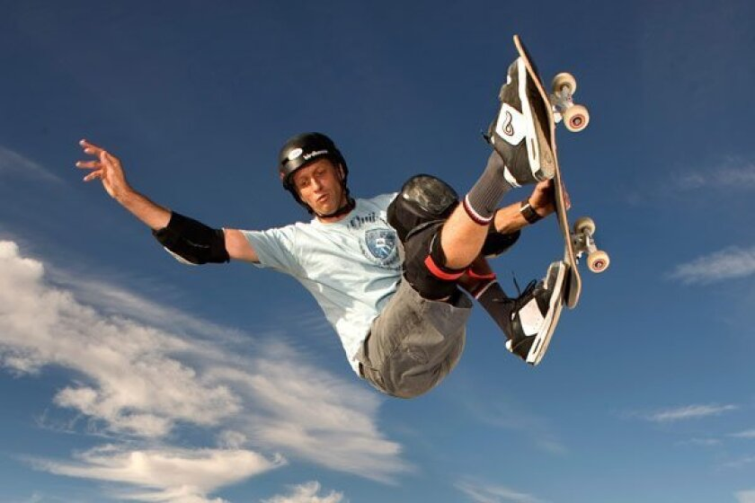 Skateboarder Tony Hawk.