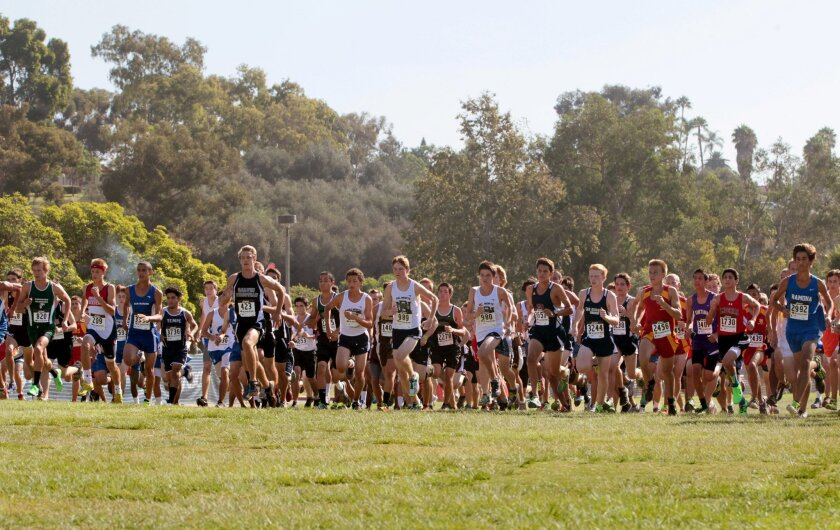 High school runners from throughout the county compete at Balboa Park.