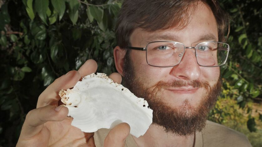 Dan Killam, who recently completed his PhD in paleobiology from UC Santa Cruz, holds a slice of a gi