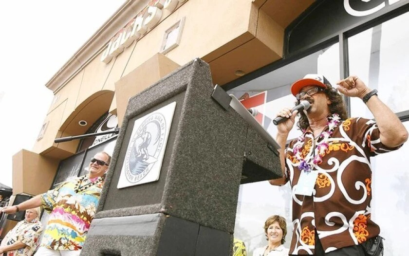 """Rick """"Rockin' Fig"""" Fignetti speaks at his Surfing Walk of Fame induction ceremony in 2010."""
