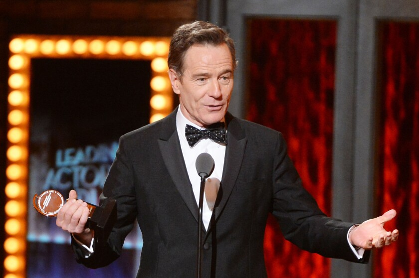 """Bryan Cranston, winner of the Tony Award for performance by an actor in a leading role in a play for """"All The Way,"""" poses in the press room during the 68th Tony Awards on June 8, 2014 in New York City."""