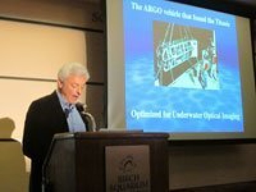Scripps Institution of Oceanography researcher Jules Jaffe gives his talk 'Underwater Imaging: From Titanic to the Tiny.'