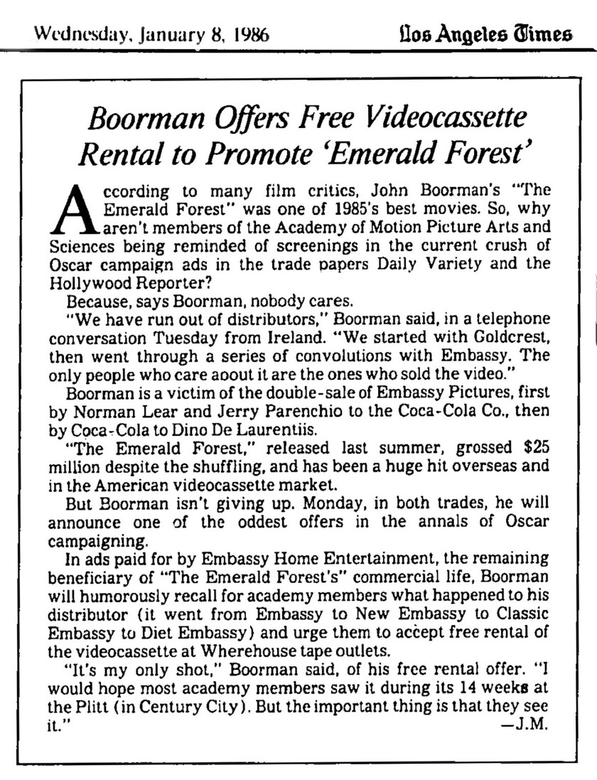 Earliest mention of Oscar screeners in the LAT 1986