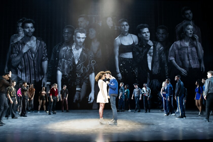 "Shereen Pimentel, Isaac Powell and the cast of Ivo van Hove's production of ""West Side Story"" at New York's Broadway Theatre."