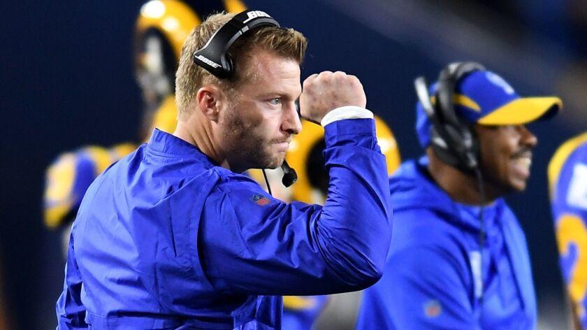 LOS ANGELES, CA. JANUARY 12, 2018-Rams head coach Sean McVay celebrates a touchdwon by running back