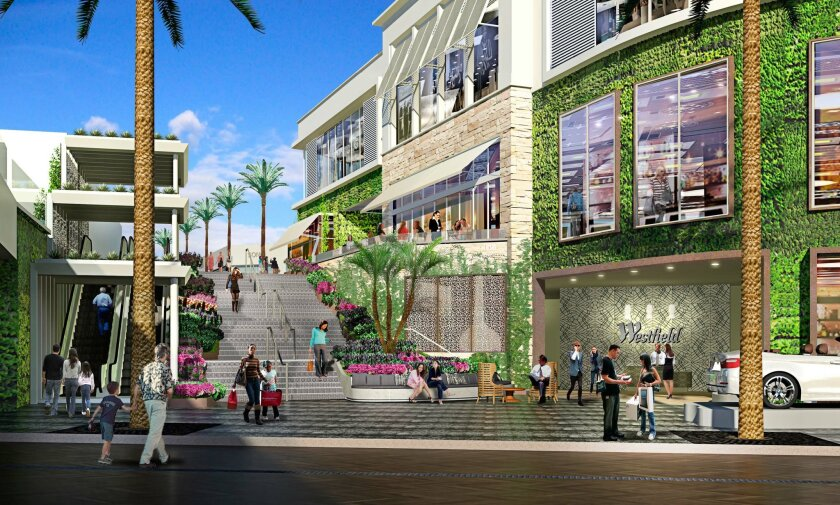 """The Westfield UTC expansion includes this valet """"arrival lounge"""" with a grand staircase leading into the mall."""