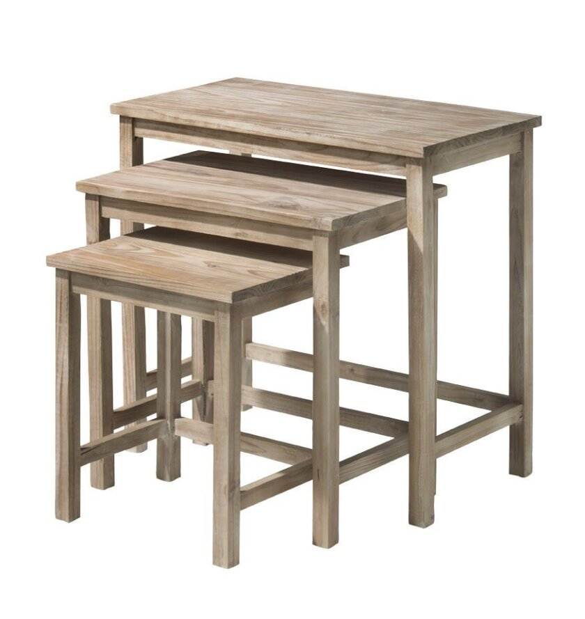 These natural wood nesting tables sell for $99.99 at HomeGoods.