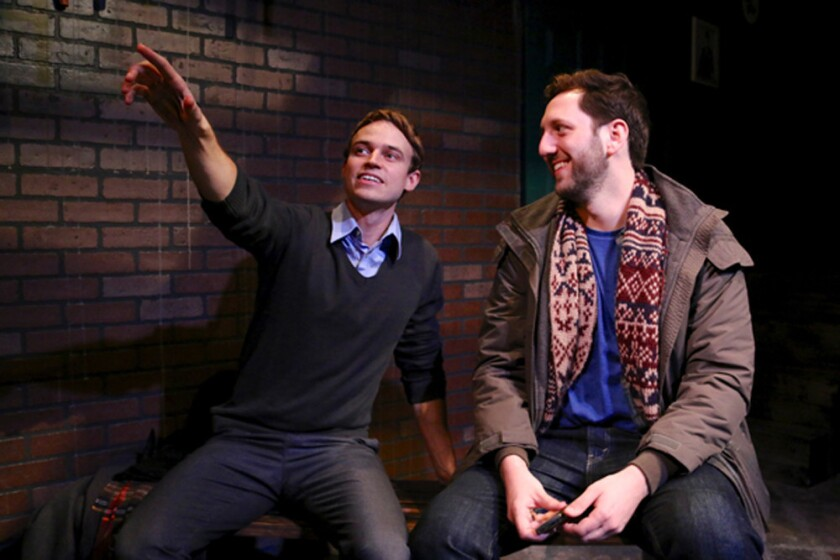 "Erik Odom, left, is the journalist Timothy and Adam Silver is former track star Joseph in Stephen Karam's ""Sons of the Prophet"" at the Blank Theater."