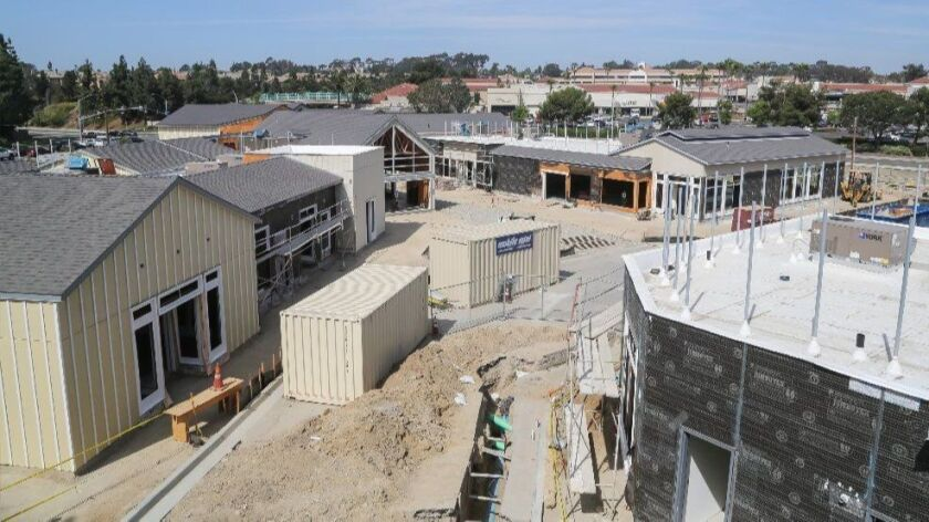 SAN DIEGO, CA July 5th, 2018 | This an overview of construction progress of retail buildings at the One Paseo development on Thursday in the Carmel Valley neighborhood of San Diego, California. | (Eduardo Contreras / San Diego Union-Tribune)