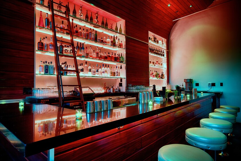 The interior of Powder Room, a new bar in Hollywood that will serve a $500 milkshake.