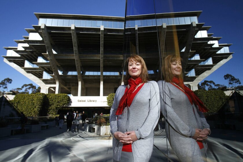 Cristina Della Coletta, dean of the Division of Arts and Humanities at UC San Diego, in front of the university's Geisel Library.