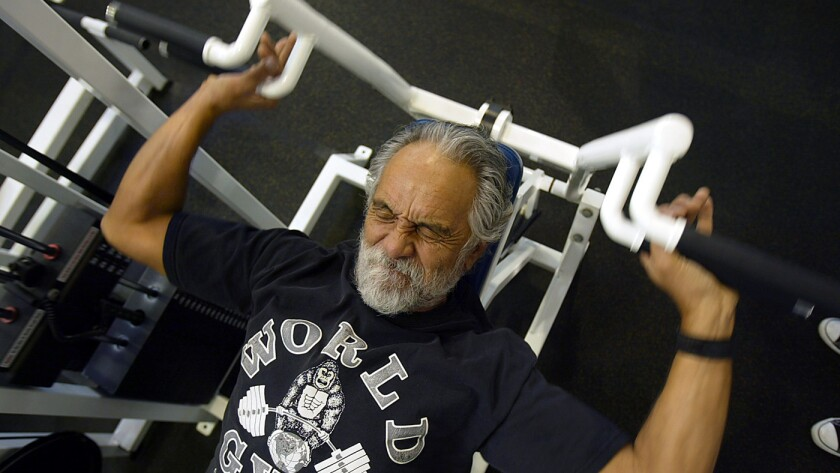 Comedian Tommy Chong works out at the World Gym in Marina del Rey on February 2, 2005.