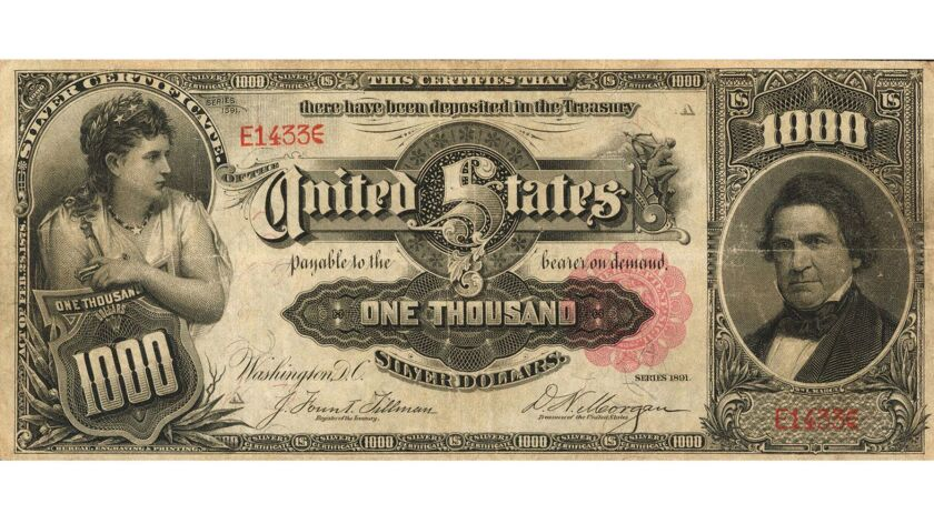 "The ""Marcy note,"" a $1,000 bill printed in 1891, is slated to be auctioned this winter."