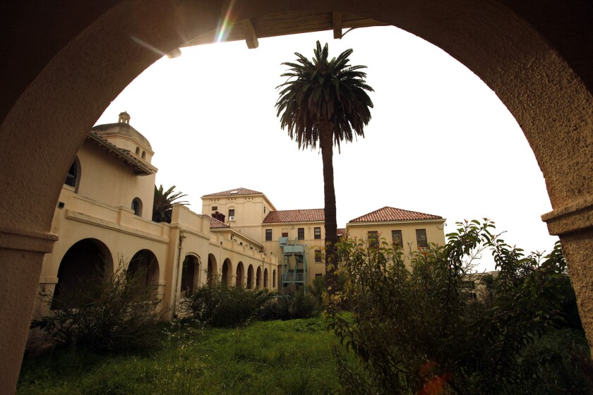 Buildings are framed by an archway on the West Los Angeles Veterans Affairs campus in January.
