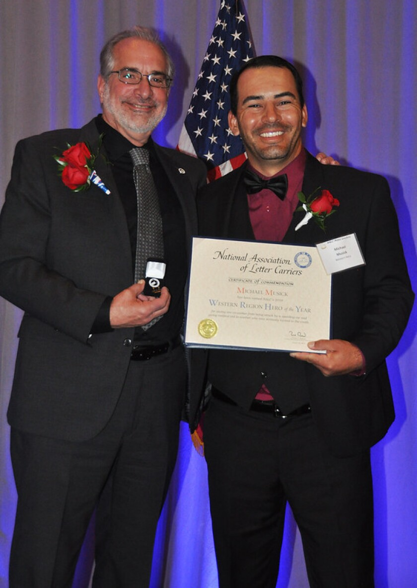 Michael Musick at the National Association of Letter Carriers Hero of the Year awards
