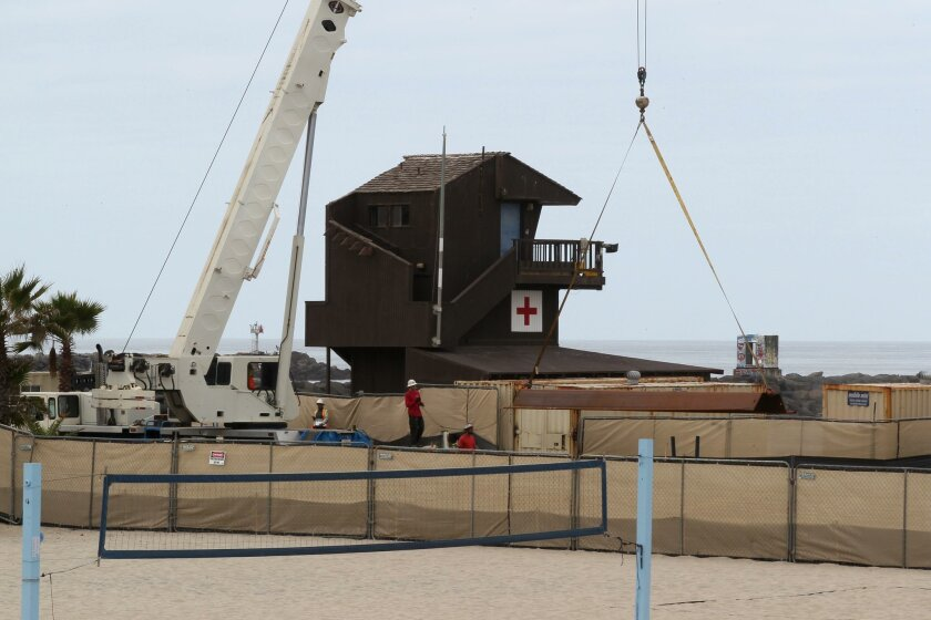 The new lifeguard station will be built at South Mission Beach to replace this 40-year-old wooden structure.