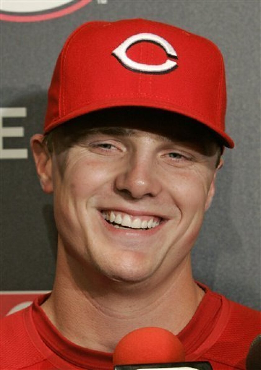 Cincinnati Reds outfielder Jay Bruce is interviewed prior to a baseball game against the Pittsburgh Pirates, Tuesday, May 27, 2008, in Cincinnati. Bruce is scheduled to make his major league debut Tuesday. (AP Photo/Al Behrman)