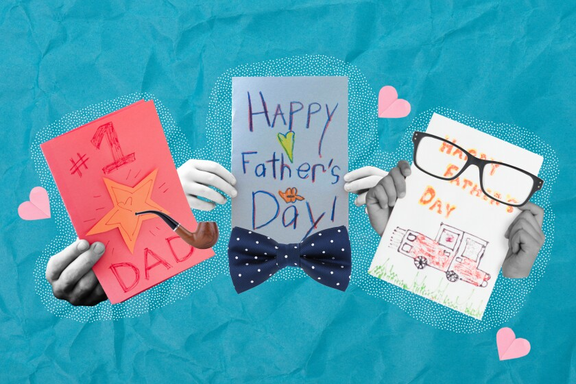 A photo illustration of three sets of hands holding Father's Day cards.